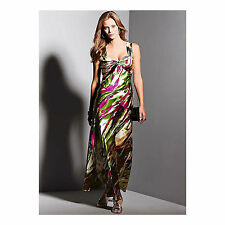 Pink Green Print Satin Maxi Long Evening Dress, Size 10 New £105 Party Formal