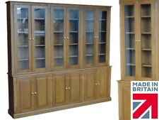 """Solid Oak Bookcase, 7ft 8"""" Tall Traditional Glazed Display Book Shelving Unit"""