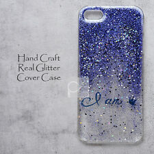 LK King Blue Real Glitter Resin DIY Hand Craft Bling Back Hard Skin Case Cover