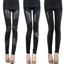 Fashion Sexy Women Stitching Stretchy Faux Leather Black Tights