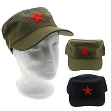 China Chairmen Mao Red Star Pattern Flat Top Cotton Fabric Army Cap Hat