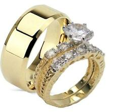 His & Hers 14kt Yellow Gold Overlay Matching Wedding Bands Wedding Ring Set