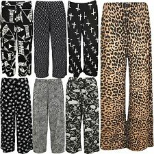 New Ladies Plus Size Flared Baggy Printed Trousers Wide Leg Tattoo Printed Pants