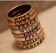 HOPE LOVE LUCK PEACE Free Belief Wisdom Courage  Ring Size 6