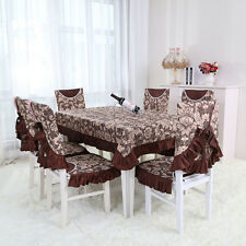 European Style Dinner Table Cloth Cover Chair Back Cover Seat Cushion Pad Decor