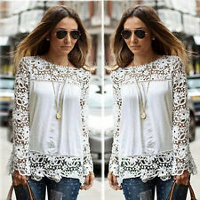 New Ladies Embroidery Lace Chiffon Long Sleeve Top Shirt Blouse T-shirt UK 8-20