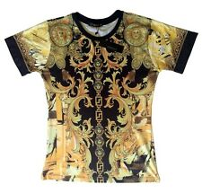 Brand New Authentic Versace T-Shirt Yellow Gold Medusa Chain Elements M,L,XL,XXL