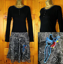 NEW DESIGUAL LADIES BLACK WHITE LONG SLEEVE TUNIC DRESS UK 8-16 (36-44)