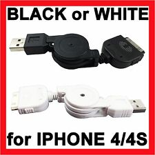 Retractable USB Data Charger Cable for Apple iPhone 4S 4 3G iPod Touch iPad Cord