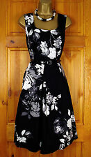 NEW M&CO LADIES BLACK GREY WHITE FLORAL VINTAGE 50s STYLE SUMMER PARTY DRESS