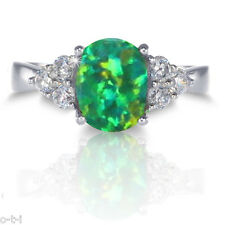 Australian Green Fire Opal Oval w/ Simulated Stones Genuine Sterling Silver Ring
