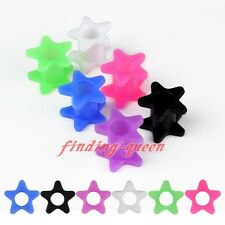 "0g-3/4"" Double Flare Star Flexible Silicone Ear Flesh Tunnel Plugs Earlets Gauge"