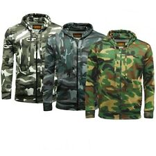 Mens Camouflage Fleece Camo Full Zip Hooded Top Sizes Small to 5XL 3 Colours