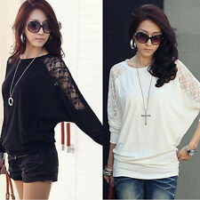 Fashion Women's Long Sleeve Casual Loose Batwing Dolman Lace T-Shirt Tops Blouse