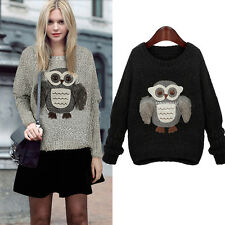 Women Casual Owl Print Long Sleeve Knitted Tops Pullover Loose Sweater Knitwear