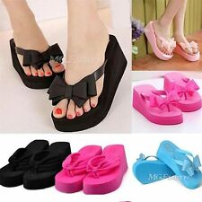 Ladies Womens Bow Summer Wedges Heel Beach Jelly Sandals Flip Flops Shoes Size