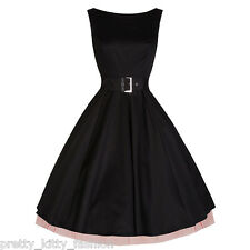 PRETTY KITTY ROCKABILLY 50s VTG BLACK RED COCKTAIL SWING PROM PARTY DRESS 8-18