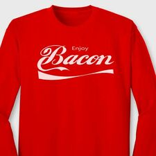 Enjoy BACON Funny Pork Lovers T-shirt Soft Drink Parody Gag Gift Long Sleeve Tee