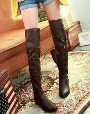 Sexy women fashion long over the knee high boot Buckle Strap flat boot shoes 047