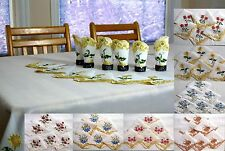 Wholesale white Rectangular Embroidered Tablecloth +12 Napkin set lots Wedding