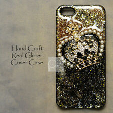 GB Crown Gold & Silver Glitter Hand Craft Bling Resin Black Hard Skin Case Cover