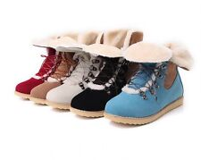 New Fashion Women comfort flats Lace-up round toes Ankle Winter Warm boots Plus