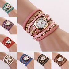 1PC Leather Strap Braided winding Rivet Bracelet Watches Wristwatch Hottest