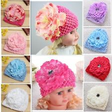 New Sweet Flower Crochet Beanie Knitted Hat For Newborn Baby Toddlers Girls Cap