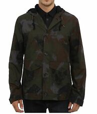 French Connection FCUK Men's Fashion Military Camo hooded jacket Coat Outerwear
