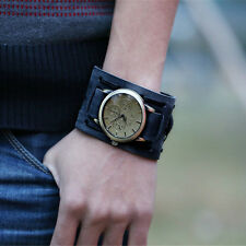 Retro Punk Rock Brown Leather Bracelet Cuff Men Watch Best Gifts For Christmas