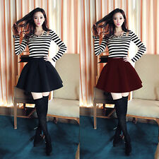 High Waist Skater Mini Skirt Jersey Plain Flared Pleated A-Line Short Sexy S-XL