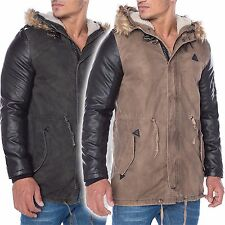 Redbridge Herren Wintermantel Parka Mantel Winter Kunst Leder Jacke R 41461