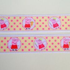 "3 yards Peppa Pig Grosgrain Ribbon 22mm 7/8"" Hairbows Cake Decoration"
