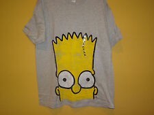 "New Mens ""The Simpsons"" Bart Head Graphic T Shirt Gray & Yellow"