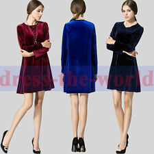 Women Elegant Soft O Neck Loose Waist Gorgeous Velvet Long Sleeve A Line Dress