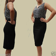 NEXT 2 IN 1 BLACK & WHITE BLOUSE BLACK SKIRT TAILORED SHIFT DRESS WORK OCCASION