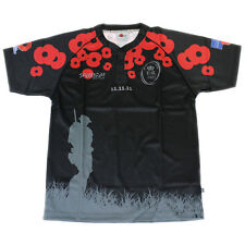BRITISH ARMY 'WE WILL REMEMBER THEM' 2011 REMEMBRANCE BLACK POPPY RUGBY SHIRT