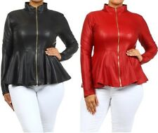 PLUS WOMEN MATTE BLACK RED FAUX LEATHER ZIP-UP FITTED PEPLUM FASHION JACKET TOP