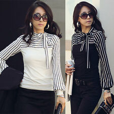 New Womens/Ladies Long Sleeve T-shirt top blouse black & white size 8,10,12,14