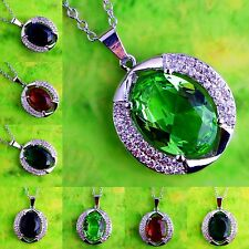 High Quality Gift Ruby Spinel & Green Amethyst Gemstone Silver Pendant Necklace