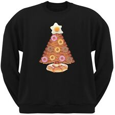Breakfast Bacon And Eggs Christmas Tree Black Adult Crew Neck Sweatshirt