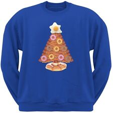 Breakfast Bacon And Eggs Christmas Tree Blue Adult Crew Neck Sweatshirt