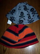 NWT GAP KIDS Fleece Beanie Winter HAT * Gray Skull S/M OR Stripe L/XL *