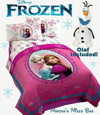 DISNEY FROZEN Princess Anna Elsa Girl Pink Twin/Full Size Comforter Bed Set+OLAF
