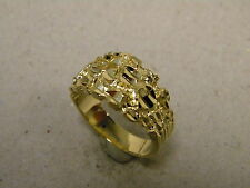 Men's Solid Round Nugget Gold Silver Plated Ring Size 10.5 Diamond Cut Accents