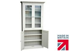 Solid Pine Glazed Display Cabinet, 7ft Tall 4 Door Painted Storage Cupboard Unit