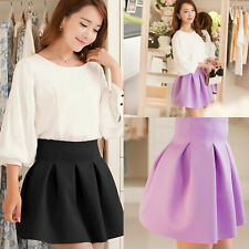 Lady Cotton Blend High Waist Mini Skirt Autumn Winter Pleated Skirts Lovely