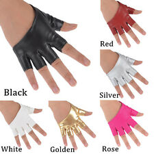 Women Half Finger PU Leather Gloves Ladys Fingerless Palm Driving Show Dance