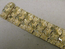 Men's Large Yellow Gold Plated Nugget Bracelet 9in Long 26mm Extra Wide Rhodium