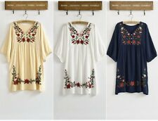 Women Embroidery Floral Ethnic Boho Blouse Gypsy Mexican Dress 5 Colors Free Sz